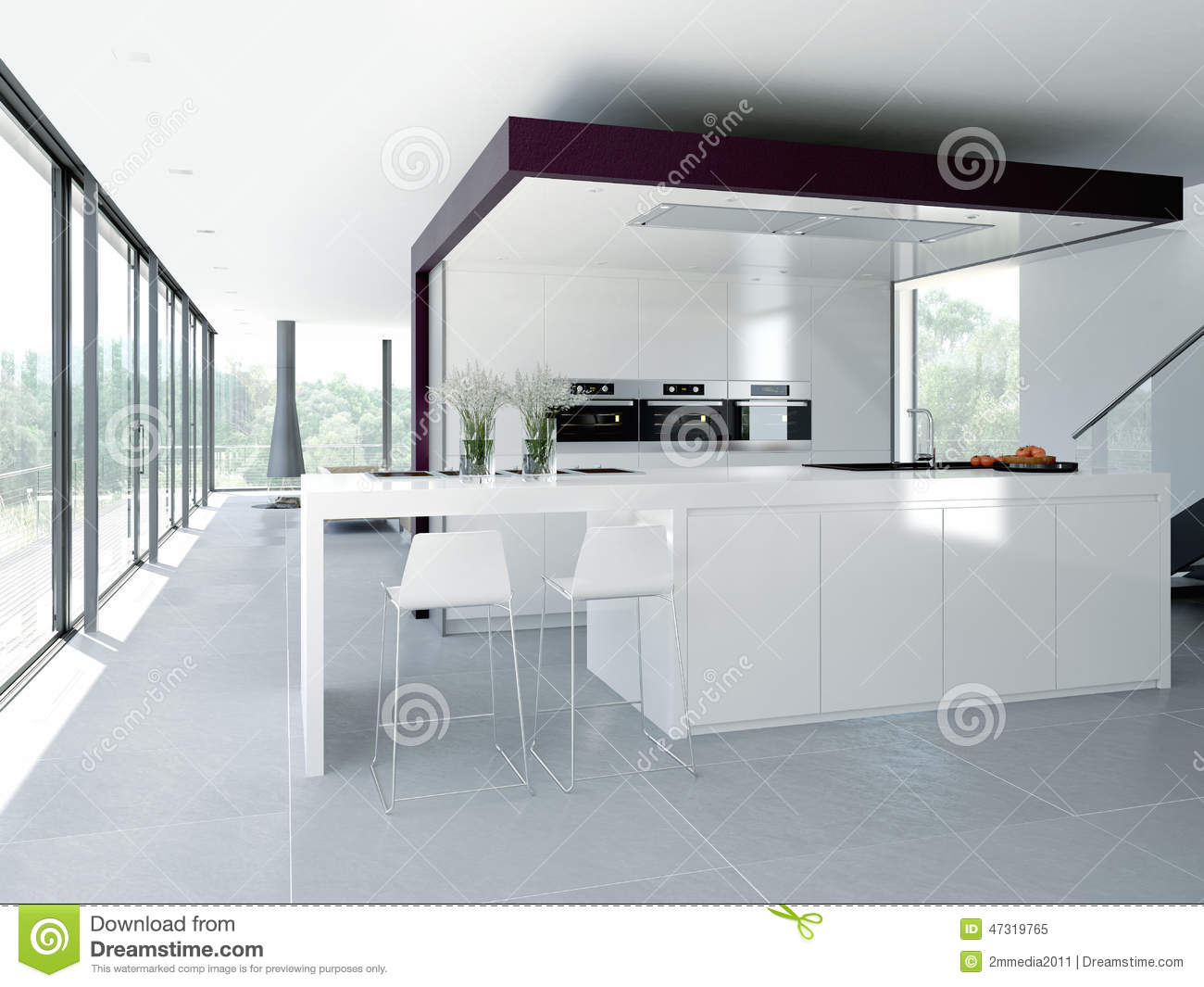 Modern kitchen interior design concept 3d stock image Clean modern interior design