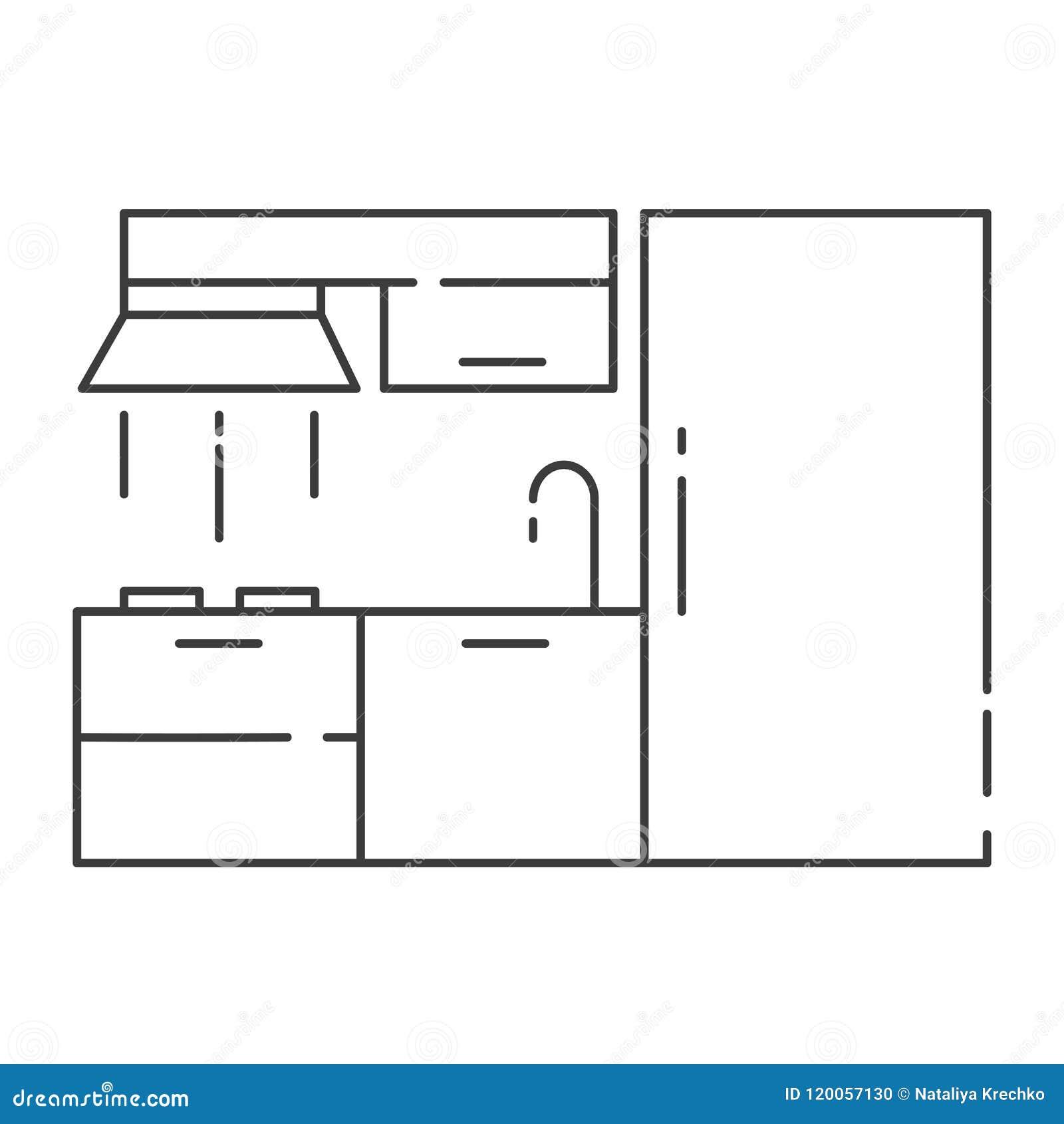 Modern Kitchen Interior Design Outline Vector Illustration Stock
