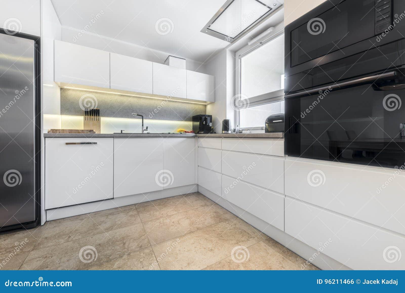 Modern Kitchen Interior Design Stock Photo - Image of counter, built ...