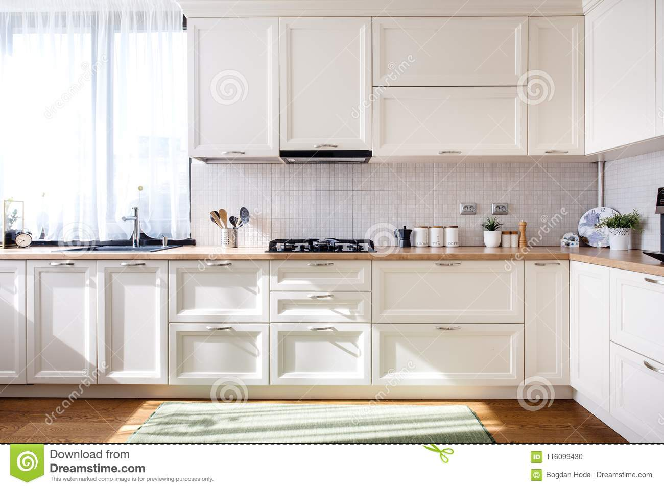 Modern Kitchen Interior Design With White Furniture And Modern Details Stock Photo Image Of Coffee Indoors 116099430