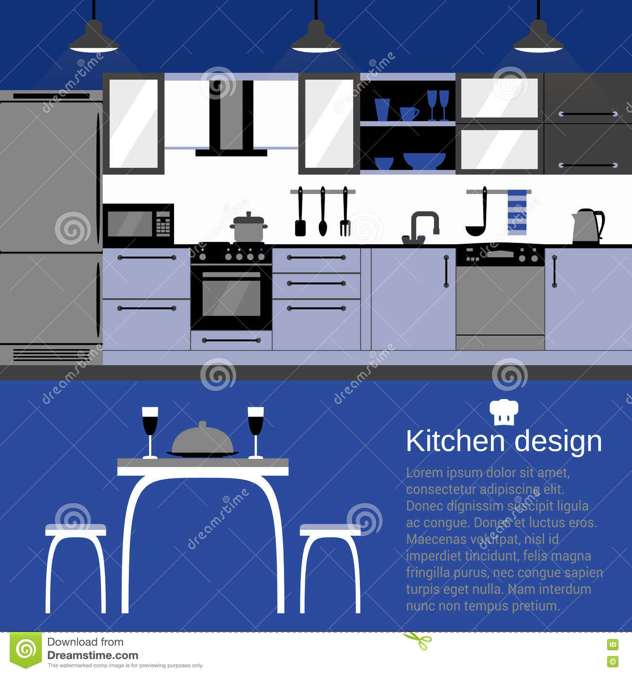 Interior Design For Kitchen For Flats: Modern Kitchen Interior Flat Design With Home Furniture