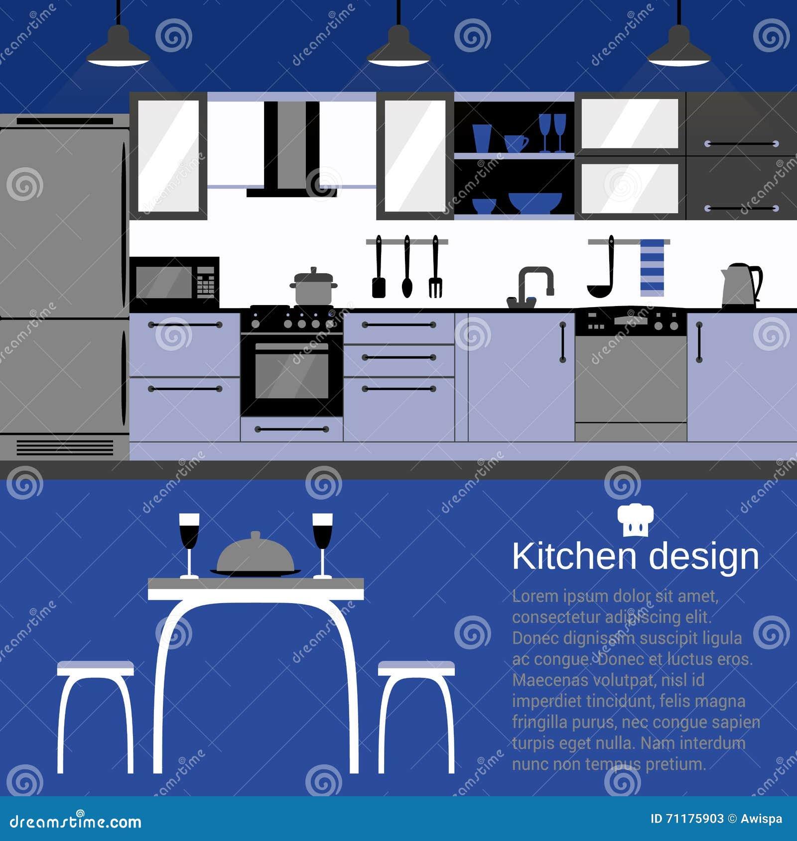 Modern Kitchen Interior Flat Design With Home Furniture