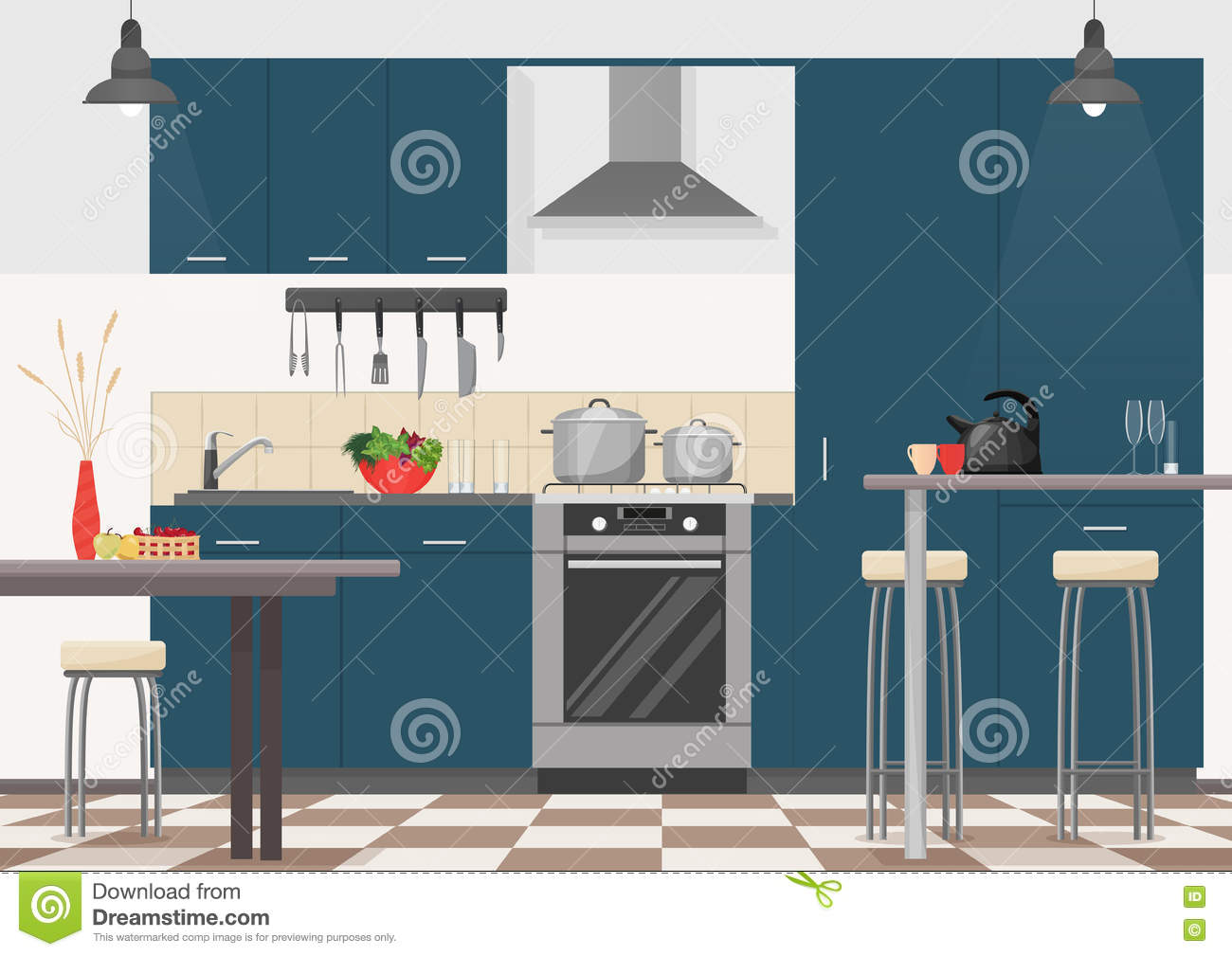 Modern Kitchen Interior With Furniture And Cooking Devices Cartoon Realistic Flat Design Of