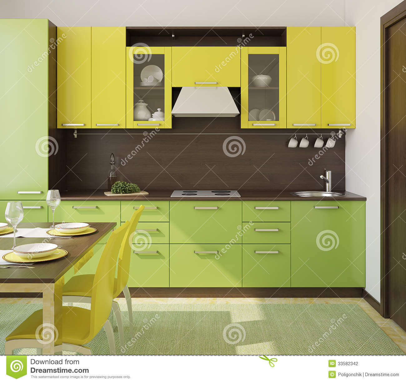 Modern kitchen interior stock illustration illustration for Yellow green kitchen ideas