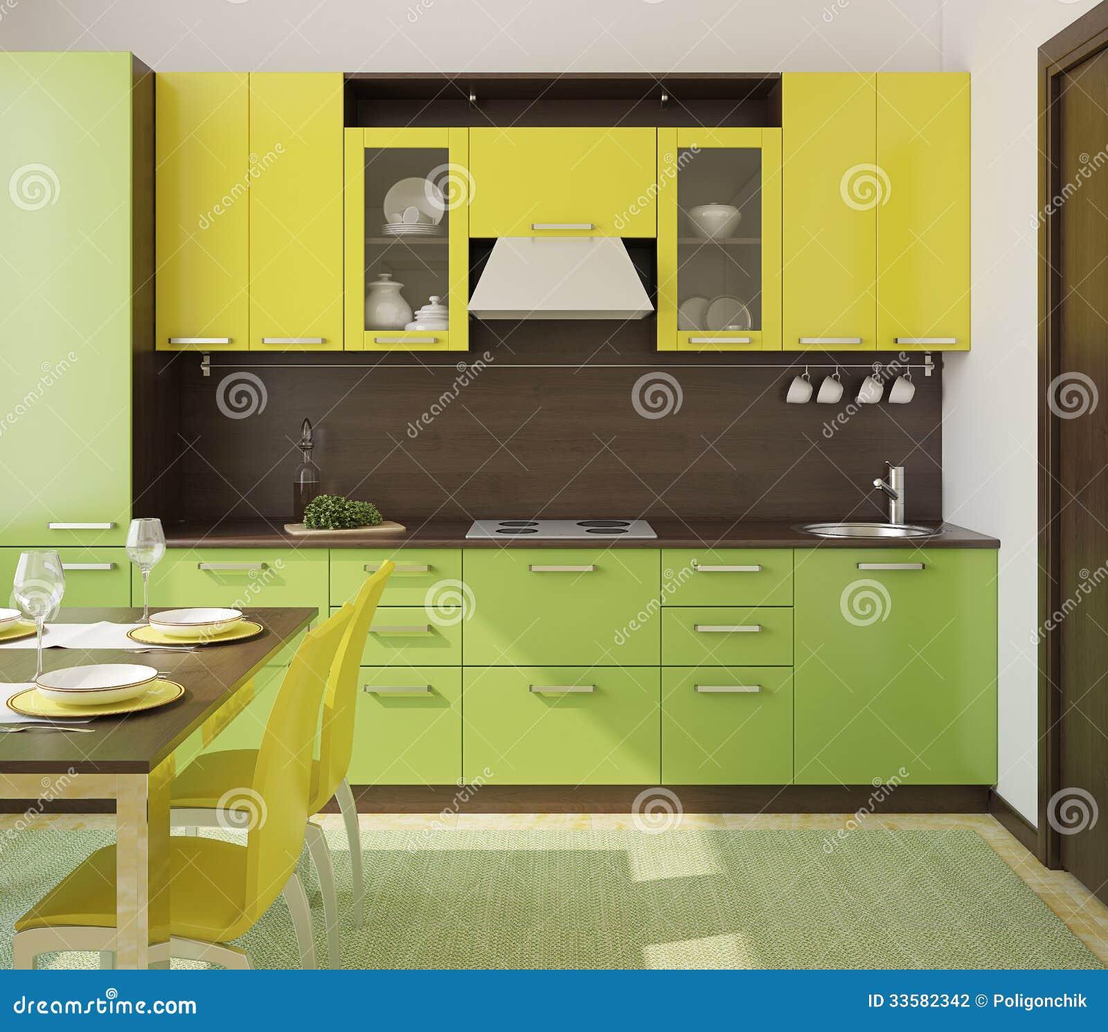 Kitchen Design Yellow Green : Modern Kitchen Interior. Stock Photography - Image: 33582342