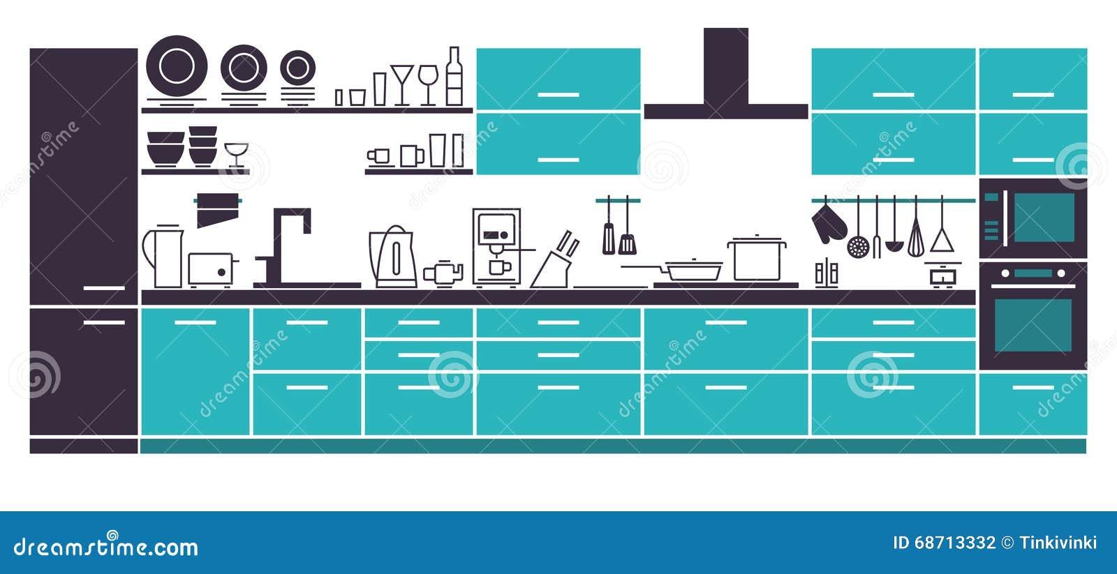Modern Kitchen Interior Layout. Stock Vector - Illustration of cook ...
