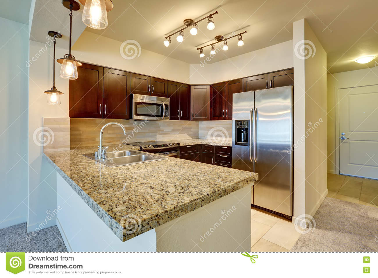 Modern Kitchen Interior With Mahogany Cabinets Stock Photo Image Of Appliances Ceiling 75588948