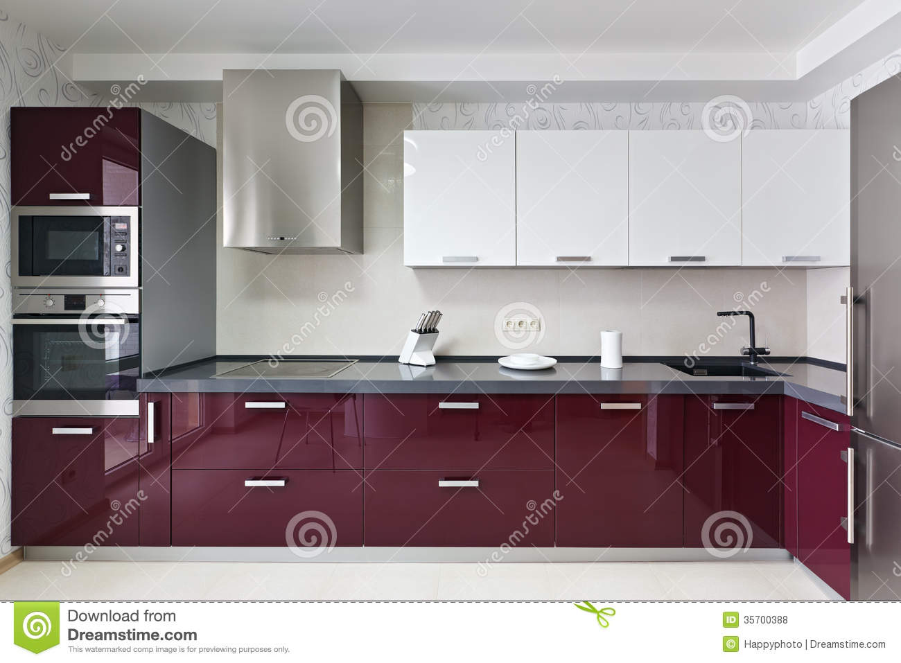 Modern kitchen interior stock photo. Image of knife, home - 9