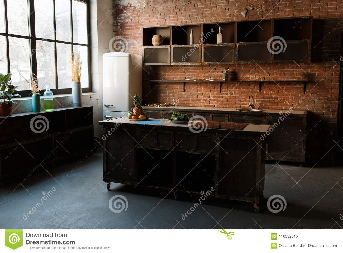 Modern Kitchen Interior With Red Brick Wall Big Window And Wooden