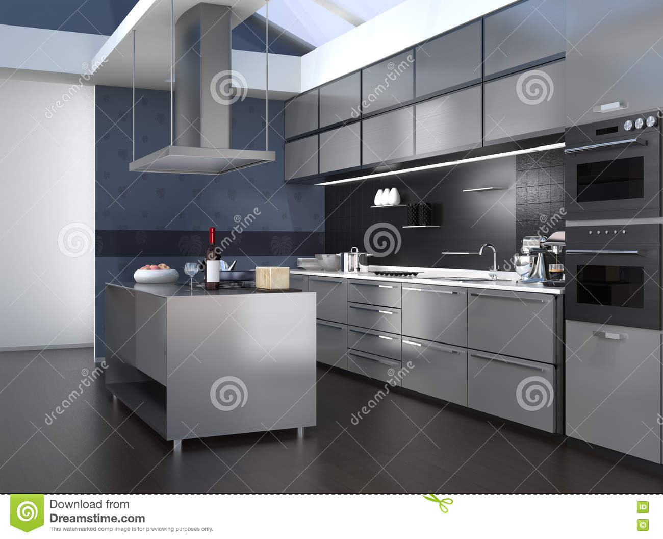 Modern Kitchen Interior With Smart Appliances In Black