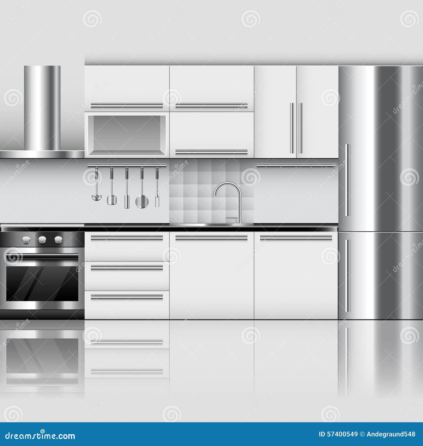 Modern kitchen interior vector background
