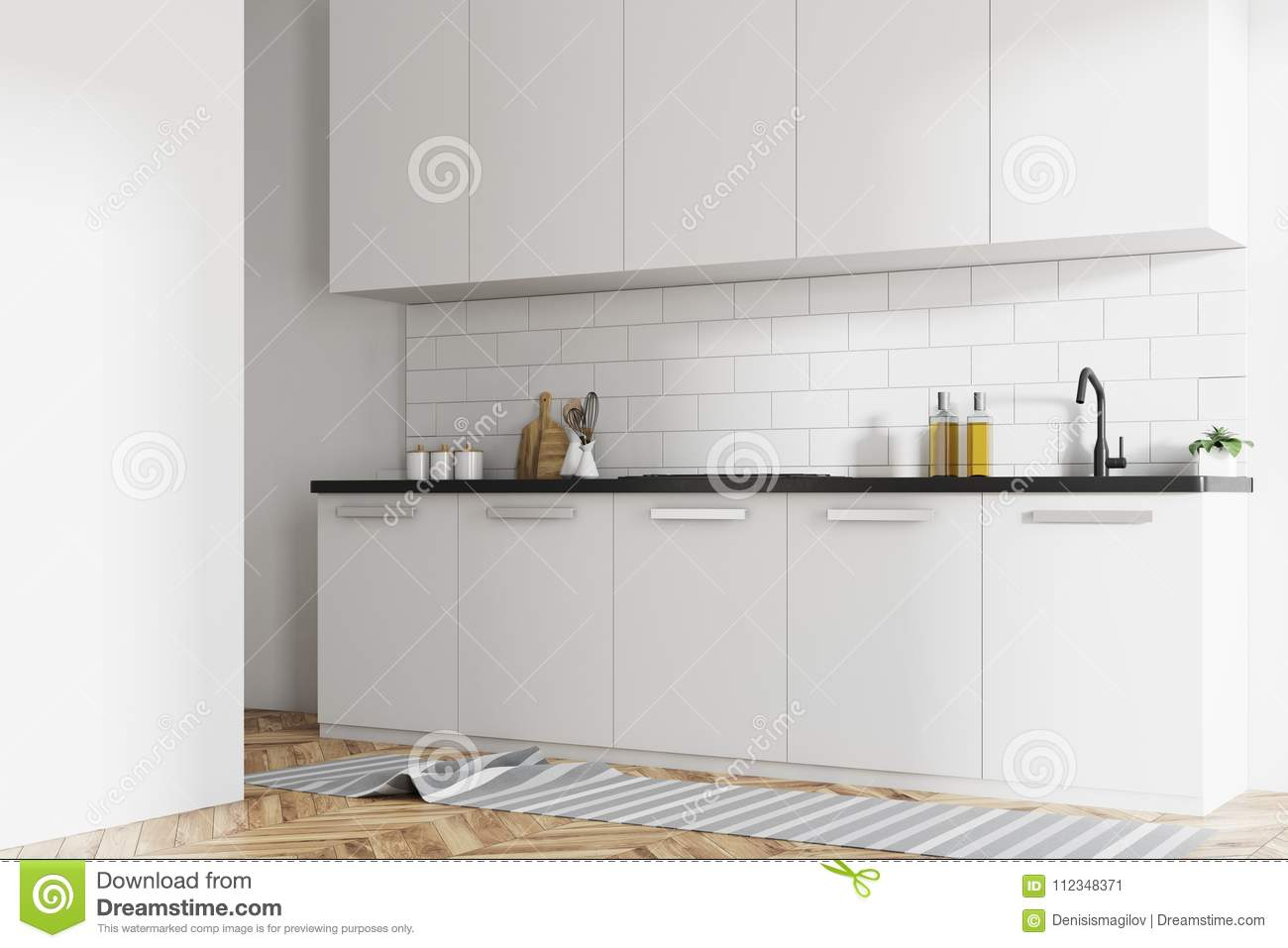 White Brick Kitchen Interior White Counters Side Stock Illustration Illustration Of Decoration Hardwood 112348371