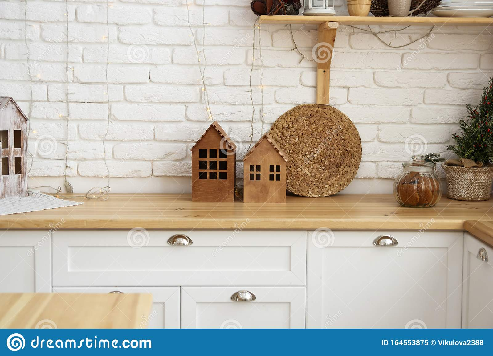Modern Kitchen Interior With White Brick Walls Wooden Countertops Stock Image Image Of Light Countertop 164553875