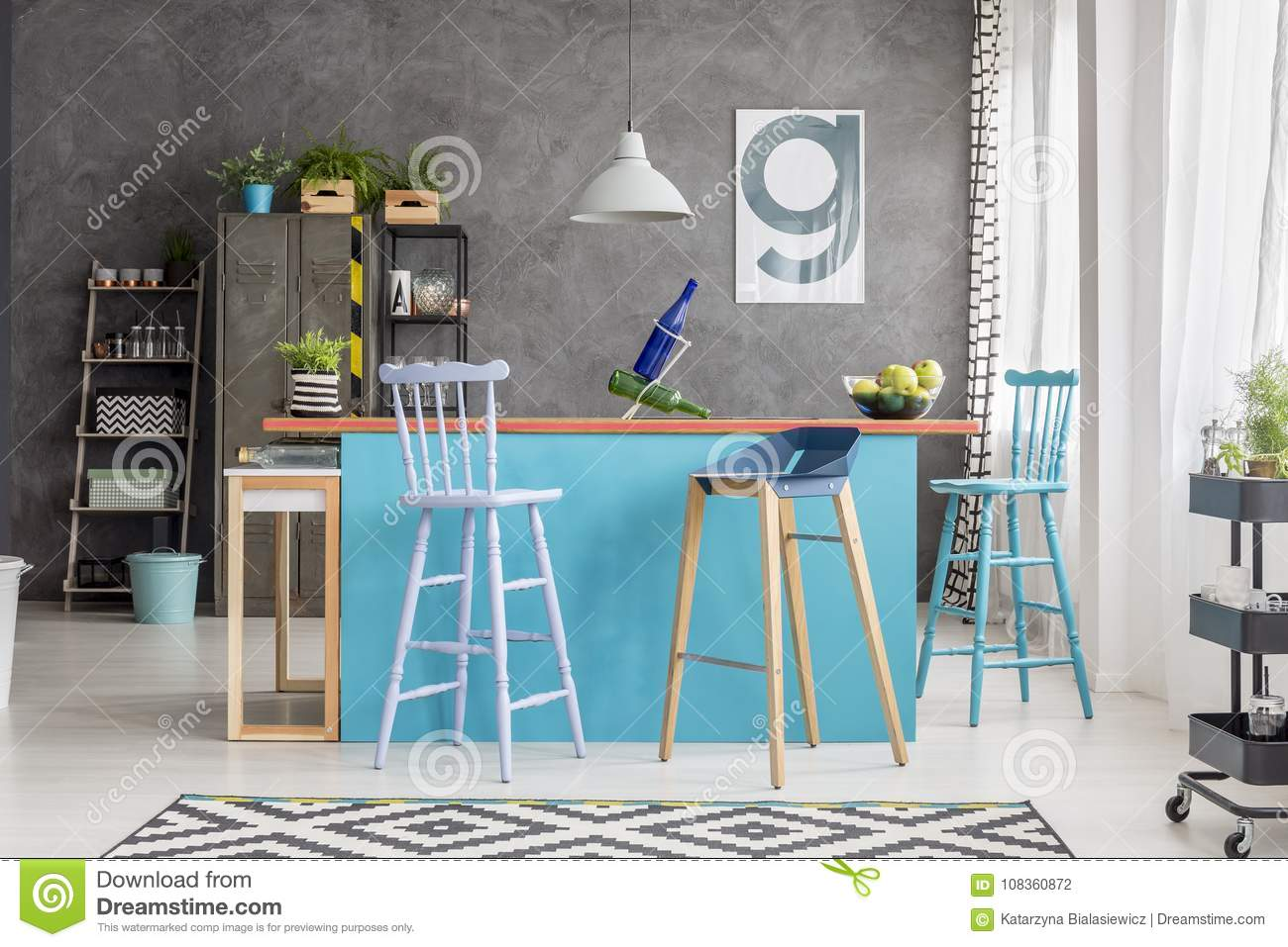 Modern Kitchen Island In Apartment Stock Photo - Image of green ...