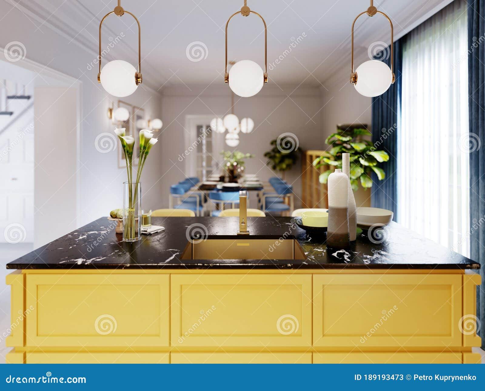 Modern Kitchen Island In Yellow Kitchen With Pendant Lamp Over Yellow Furniture Black Countertop Stock Illustration Illustration Of Interior Kitchen 189193473