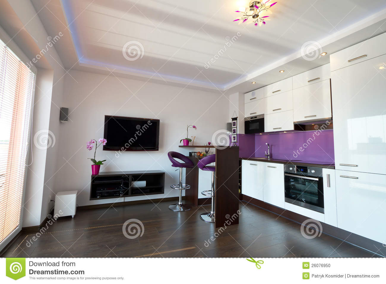 Modern kitchen with living room stock photo image of for Living room kitchen