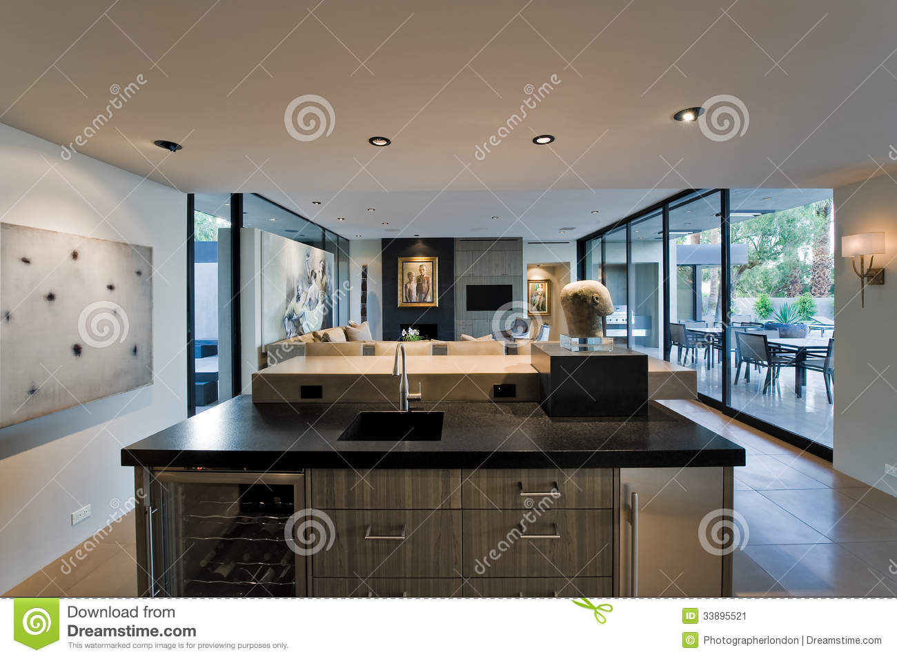 Modern kitchen with living room and porch behind stock for Modern kitchen room images