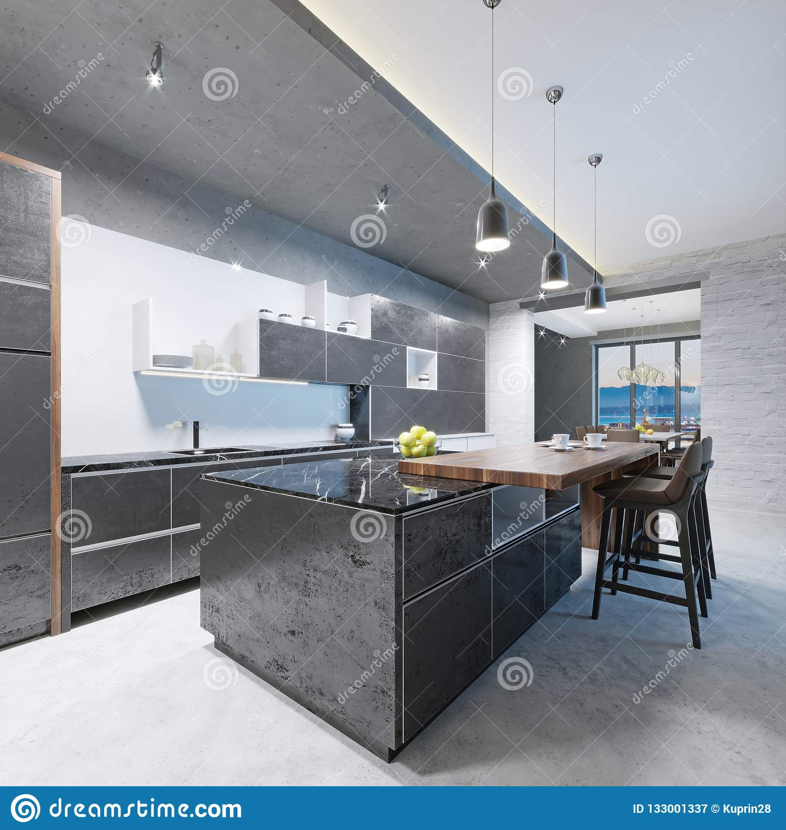 Modern Kitchen Long Kitchen Island With A Wooden Top Of The Bar