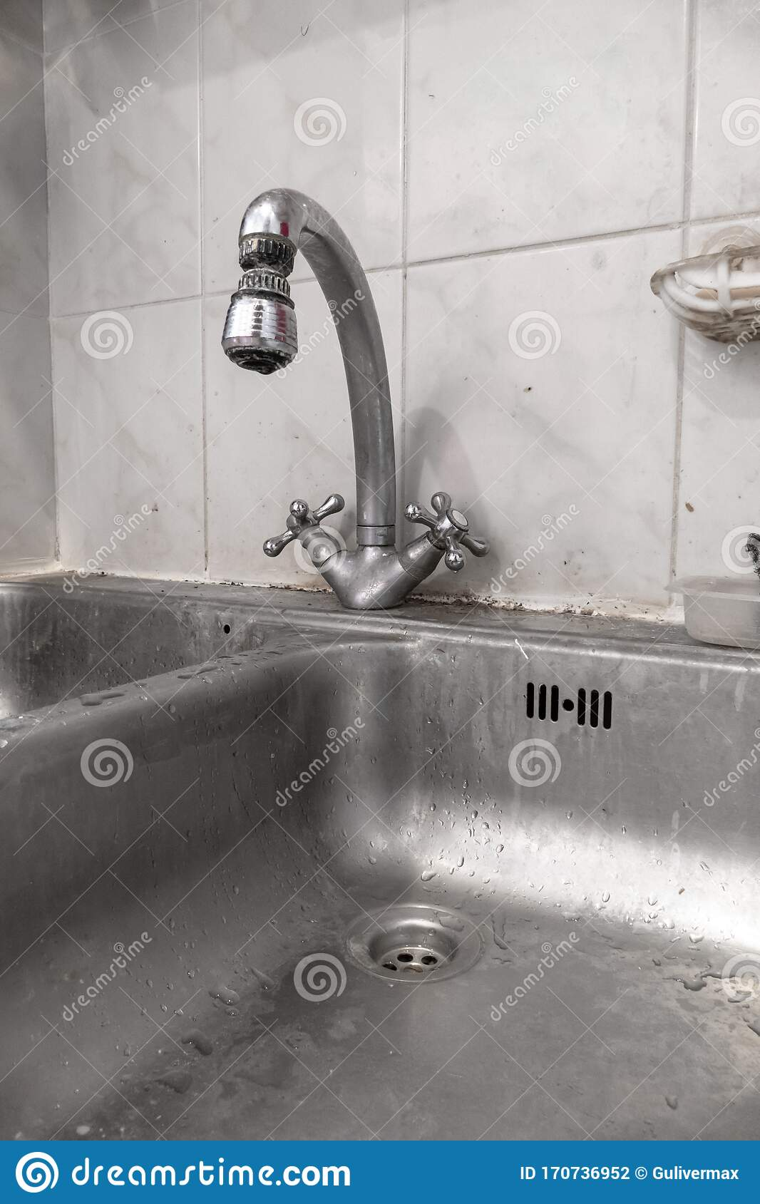Kitchen Faucet With Dripping Water Close Up Stock Photo Image Of Metal Food 170736952