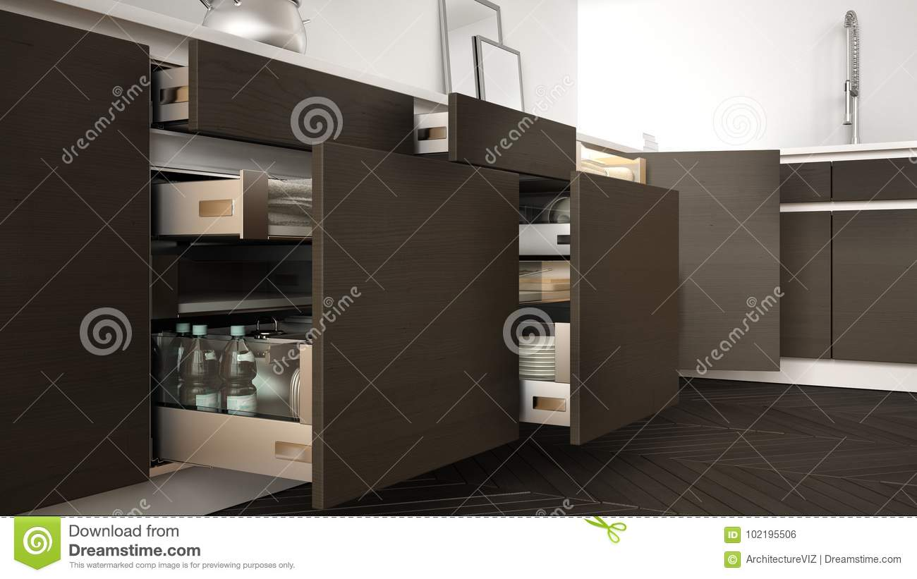 Modern Kitchen Opened Wooden Drawers With Accessories