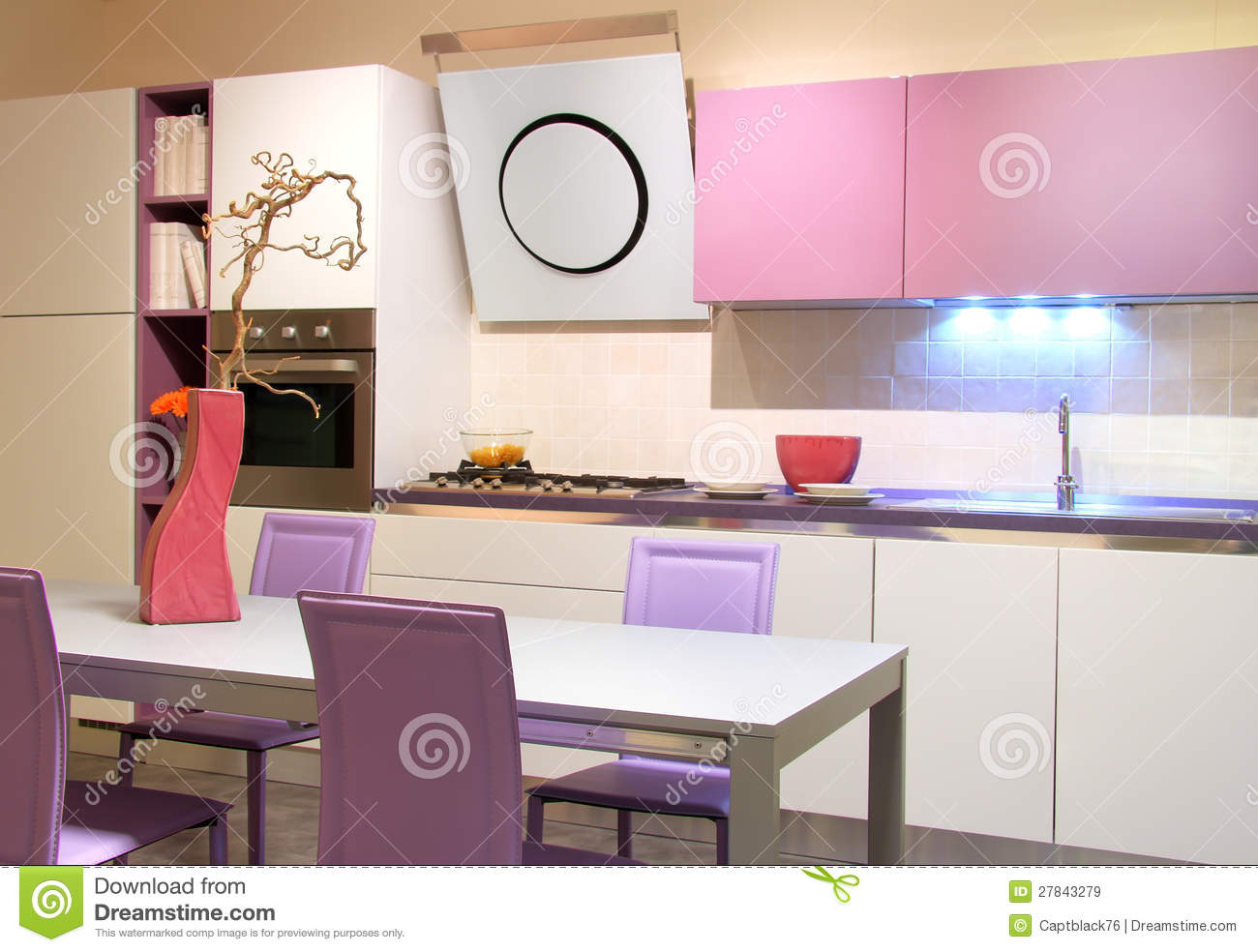 Modern Kitchen Pink And Cream Coloured Royalty Free Stock Images