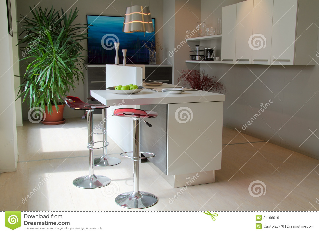 Remarkable Modern Kitchen With Red Stools Stock Image Image Of Short Links Chair Design For Home Short Linksinfo