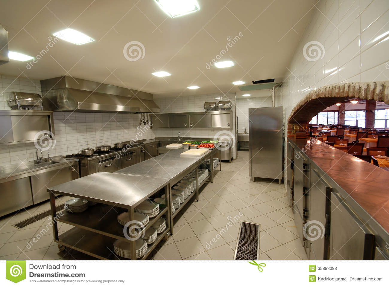 Restaurant Kitchen View professional kitchen, view counter in steel stock photo - image