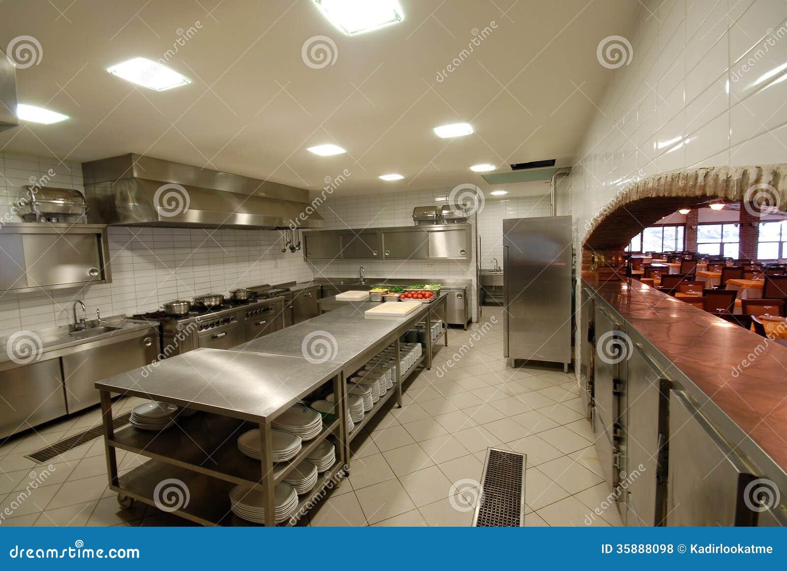 modern kitchen in restaurant  royalty free stock photos