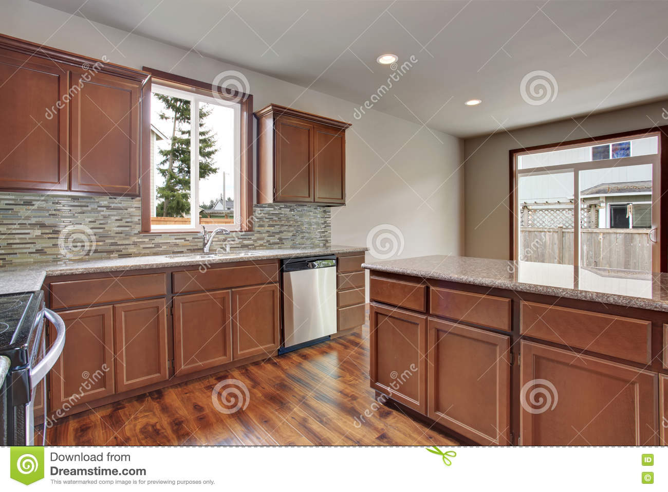 Modern Kitchen Room Interior In An Empty House Furnished With Dark Brown Cabinets Stock Image Image Of Kitchen Apartment 74848273