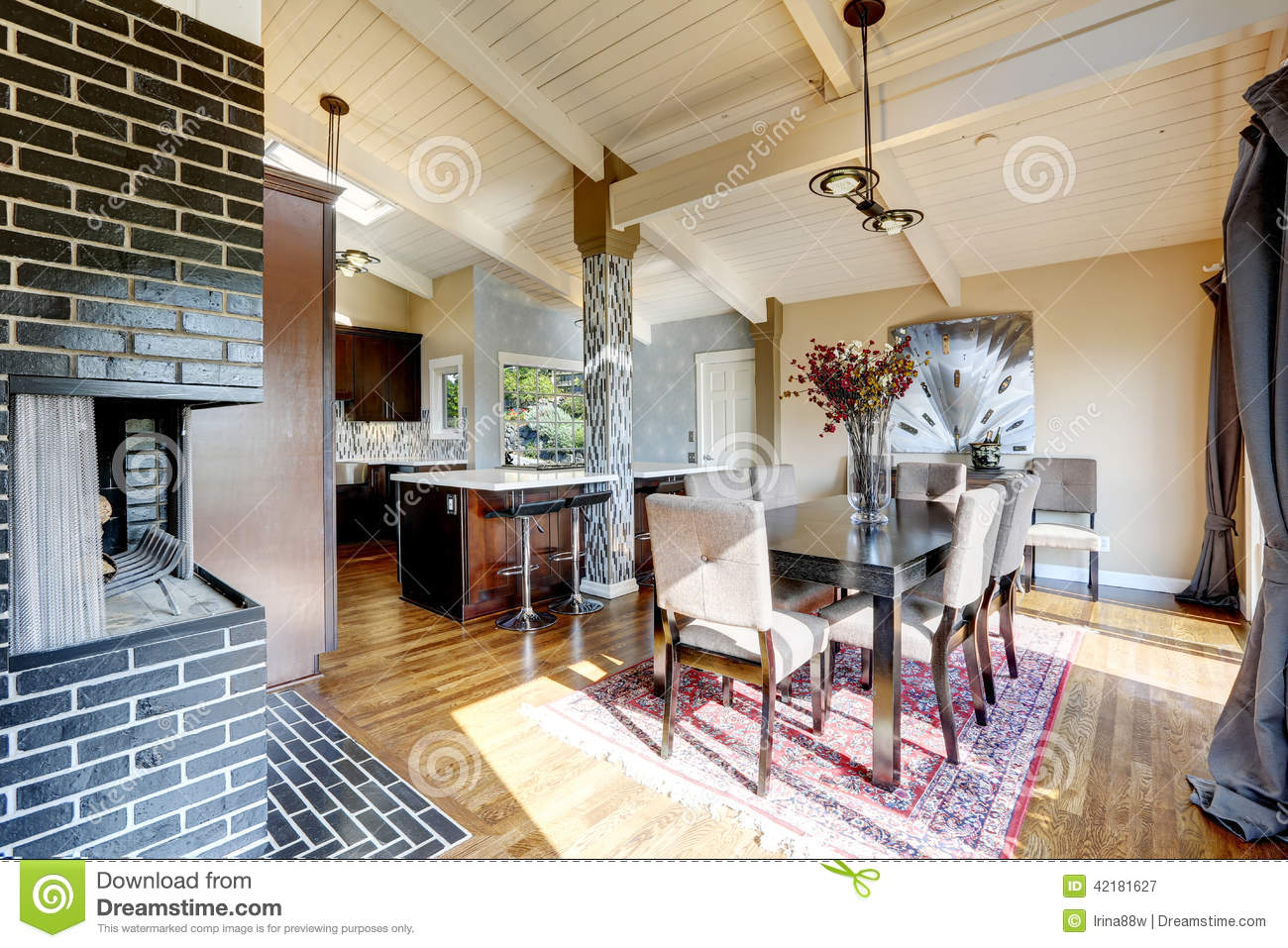 Modern Kitchen Room Interior With Fireplace And Dining Area Stock Image Image Of Elegant Furniture 42181627