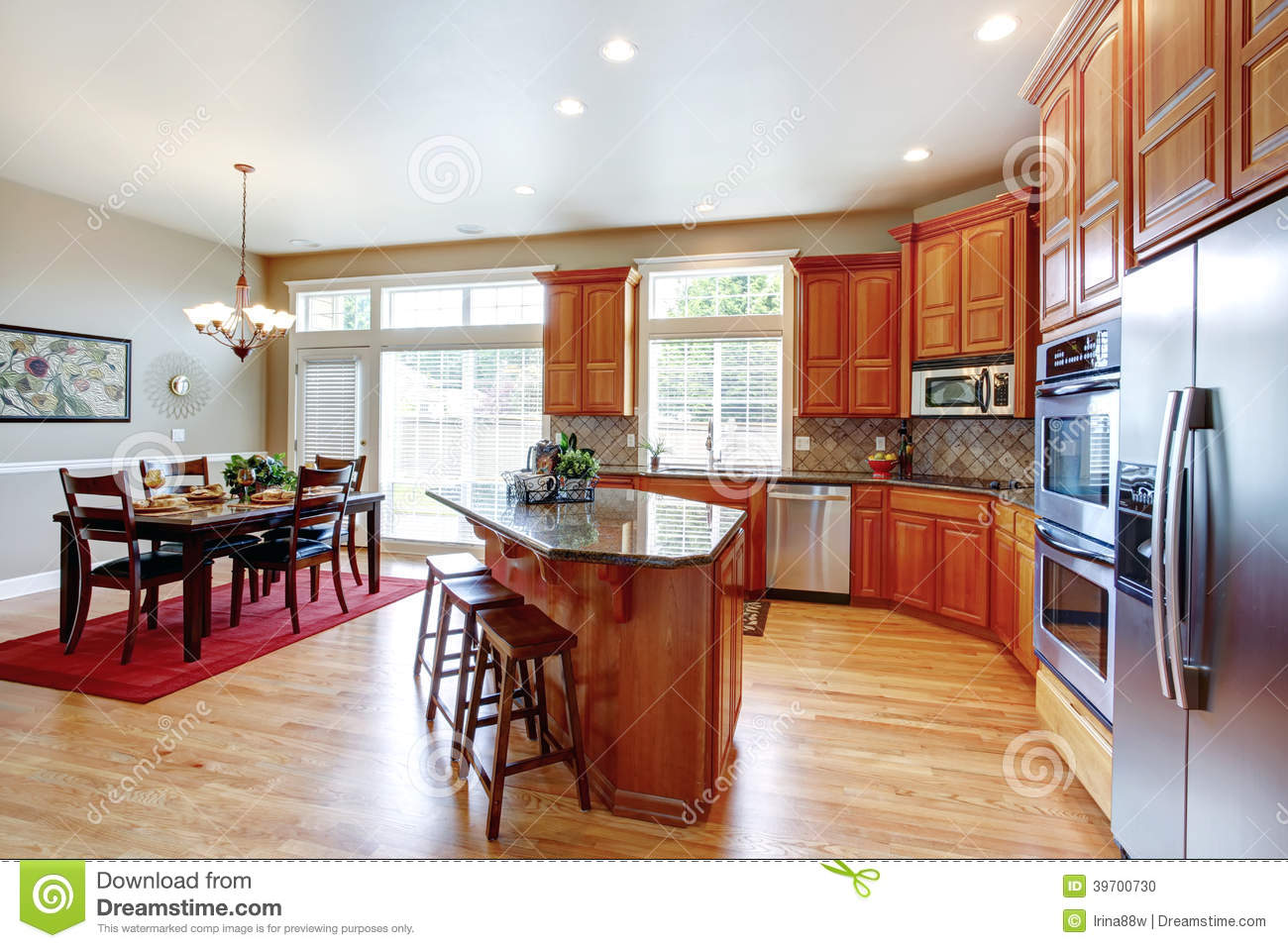 Modern Kitchen Room With Island And Dining Area Stock Photo Image