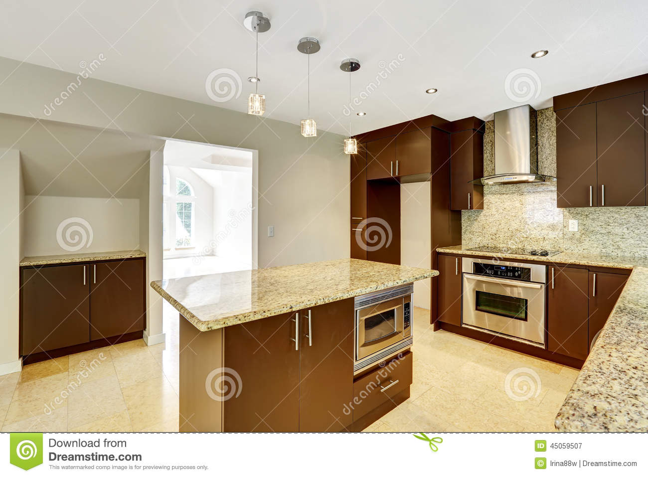 Modern Kitchen Room With Matte Brown Cabinets And Granite Trim Stock
