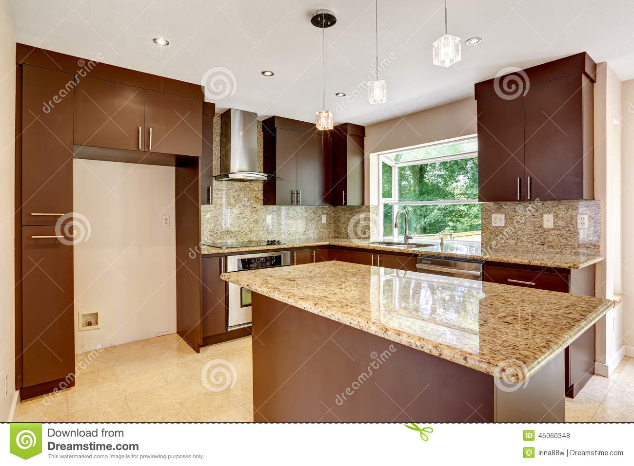 Modern Kitchen Room With Matte Brown Cabinets And Shiny