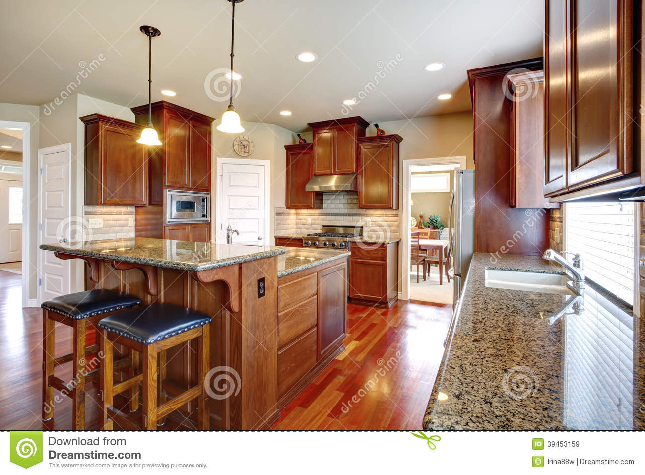 modern kitchen room with oak cabinets stock photo image