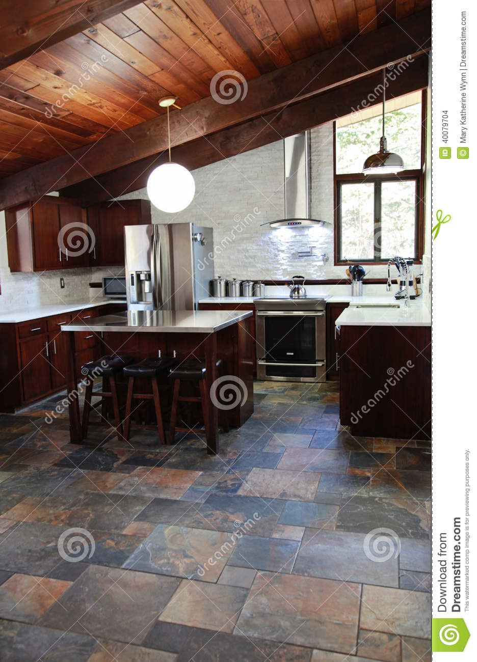 Slate Kitchen Flooring Modern Kitchen Stock Photo Image 40079704