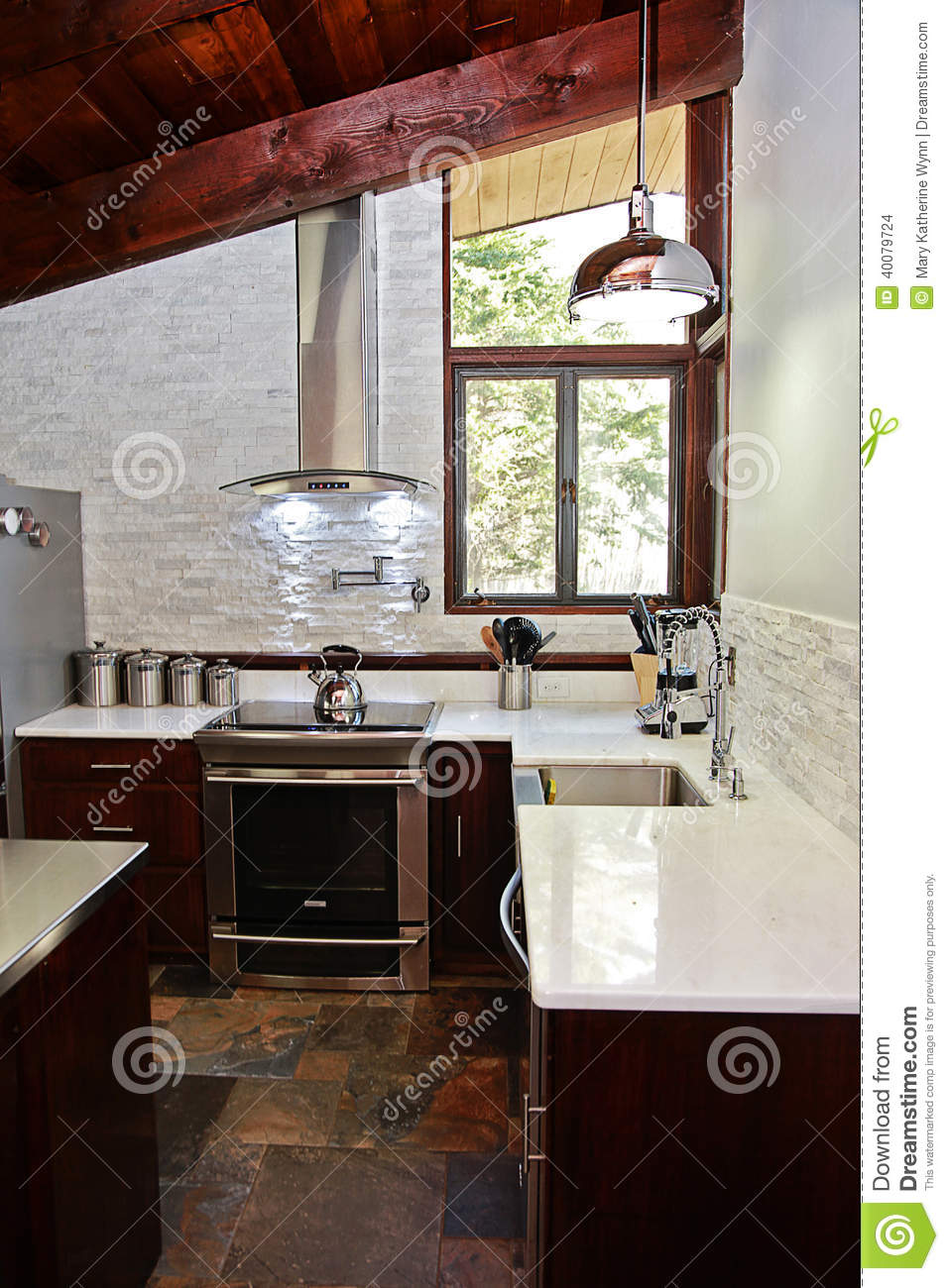 Kitchen With Slate Floor Modern Kitchen Stock Photo Image 40079724