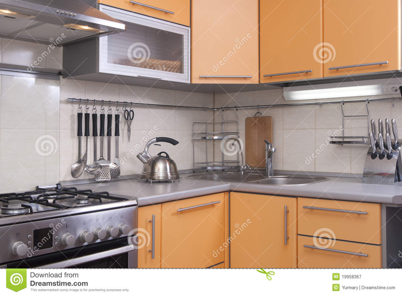 Modern Kitchen In Shades Of Peach Royalty Free Stock Photography