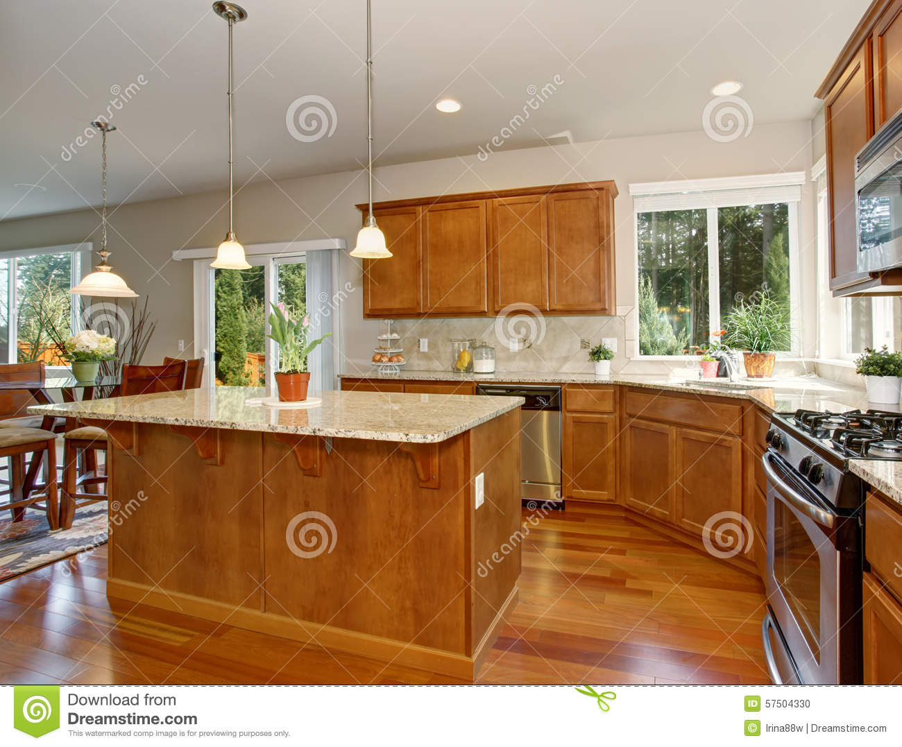 Download Modern Kitchen With Simple Wood Cabinets. Stock Photo   Image Of  Estate, Interior