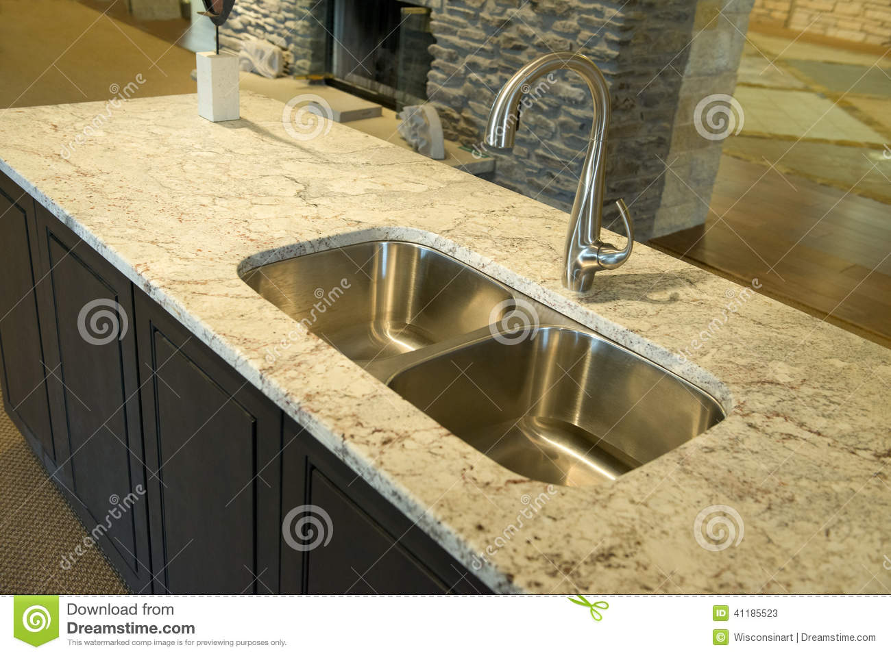 Granite Or Stainless Steel Sink : Modern Kitchen Sink With Granite Counter Top Stock Photo - Image ...