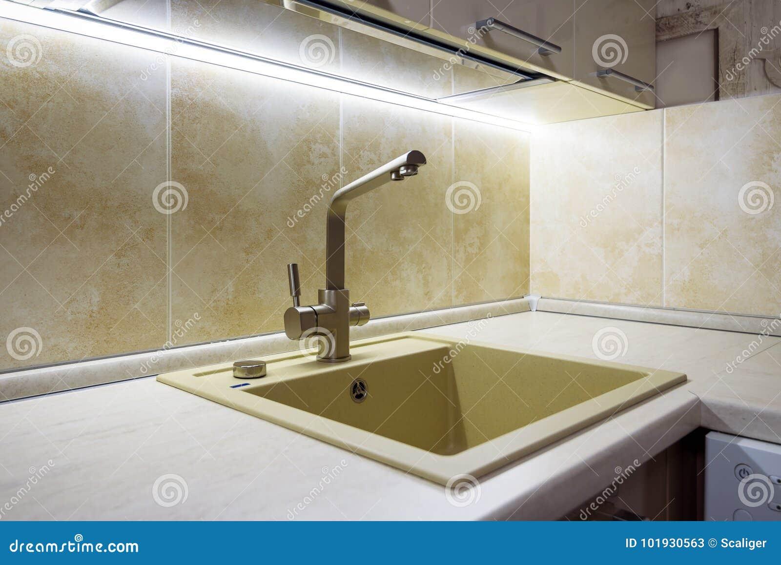 Modern Kitchen Sink Stock Image Image Of Illumination 101930563