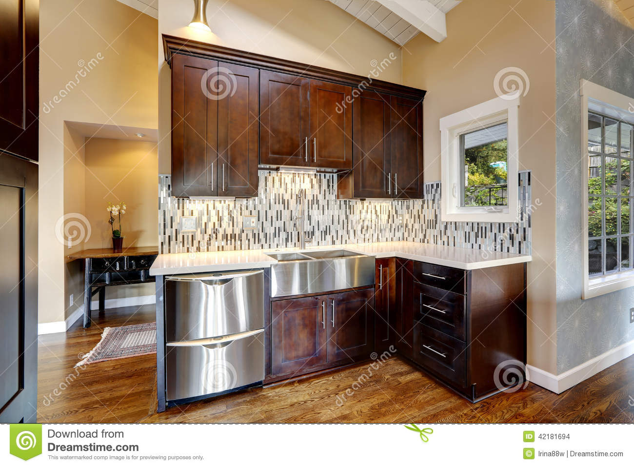 Modern kitchen storage cabinets stock photo image 42181694 for Dark brown kitchen cabinets with stainless steel appliances