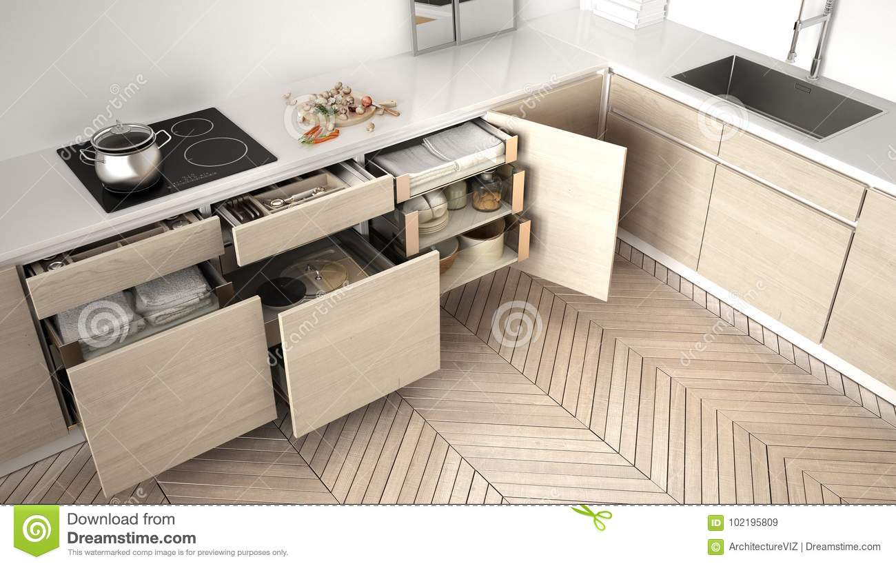 Modern Kitchen Top View Opened Wooden Drawers With