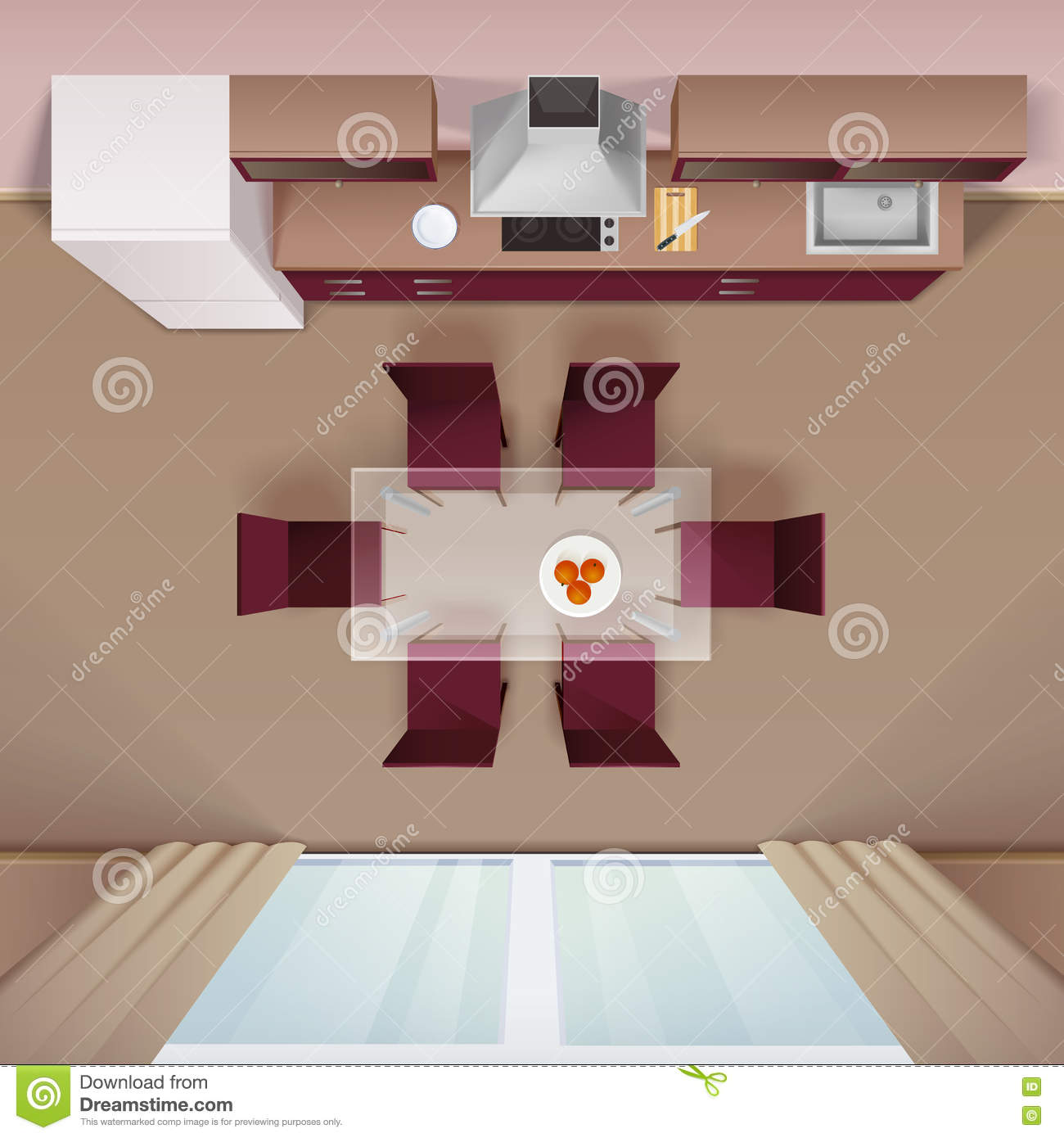 Modern Kitchen Top View Realistic Image Stock Vector Illustration 71170384