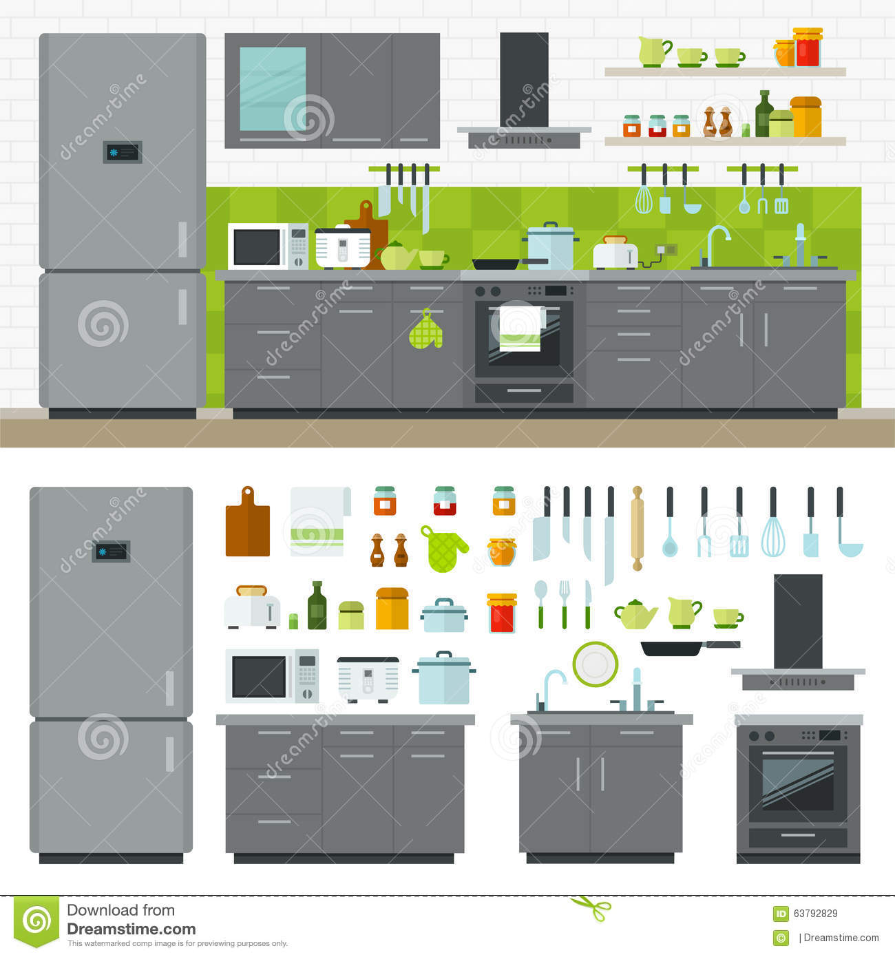Modern Kitchen Utensils modern kitchen utensils, furniture, interior stock vector - image