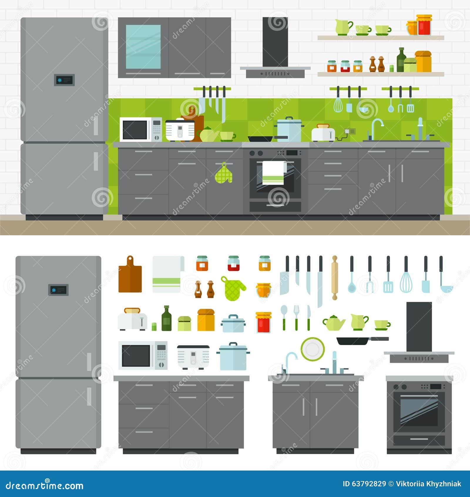Modern kitchen utensils furniture interior stock vector image