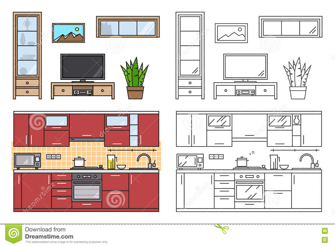 Furniture cartoons illustrations vector stock images for Interior design web app