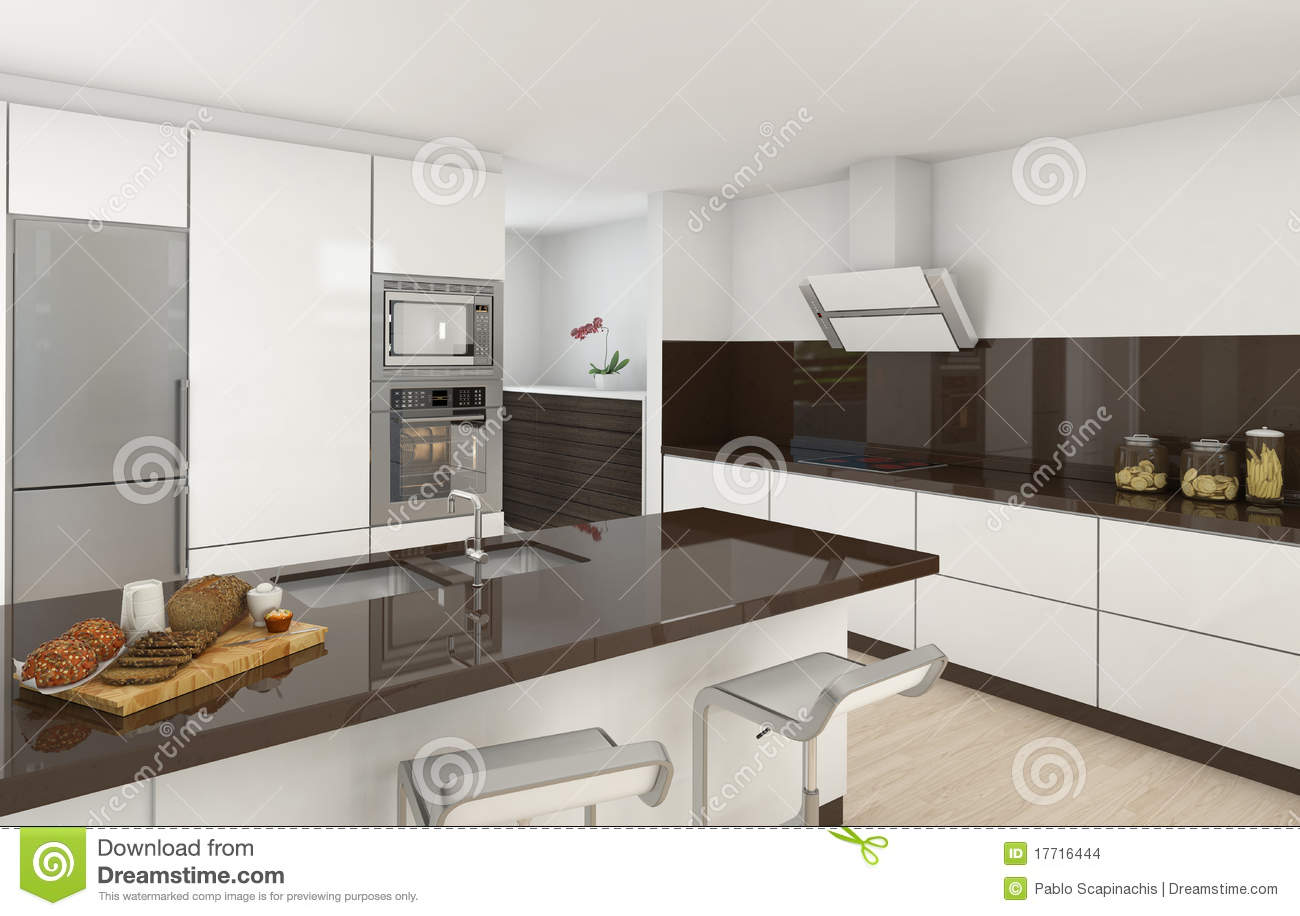 Modern kitchen white and brown stock illustration for Cocinas gris con blanco