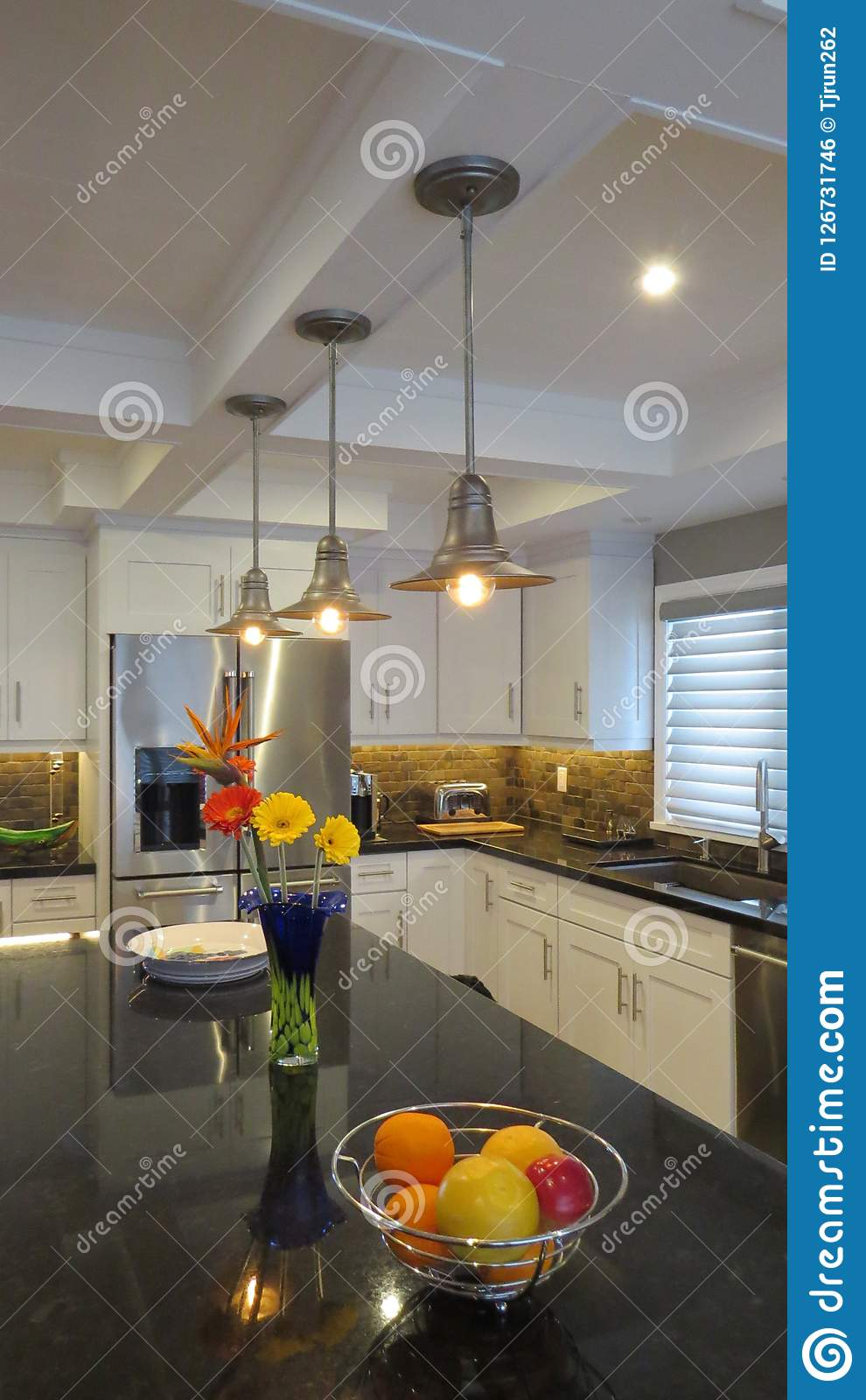 Modern Kitchen With White Cabinets And Granite Countertops Stock Photo Image Of Architecture Modern 126731746
