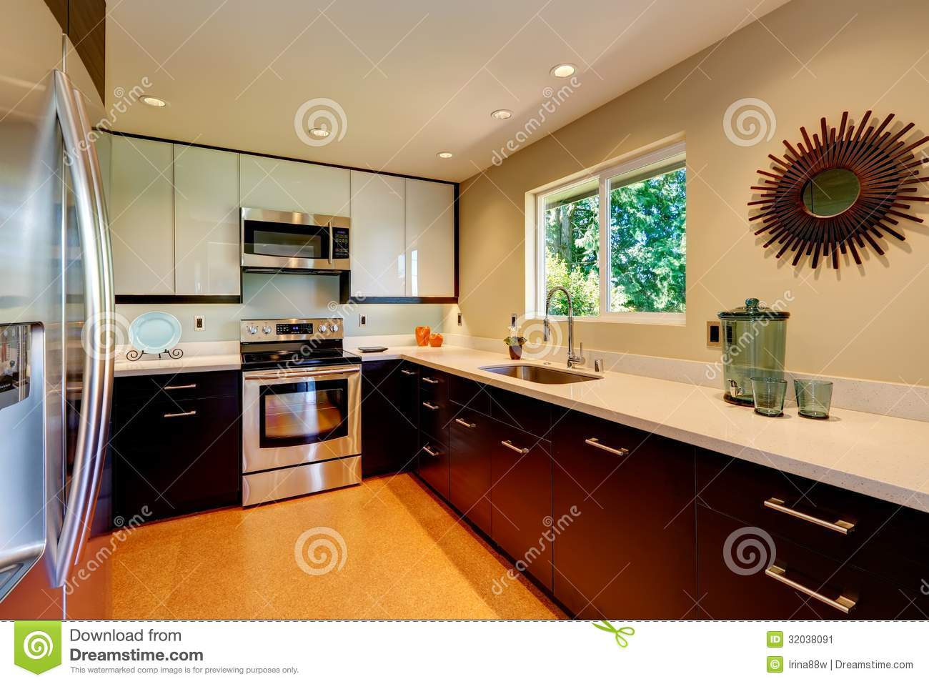 Modern kitchen with white countertops white and brown new for Modern brown kitchen cabinets