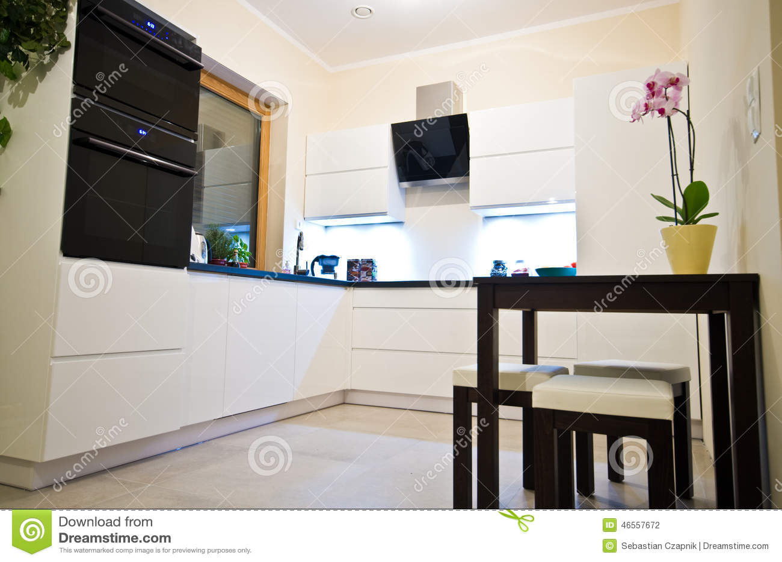 Modern kitchen in white stock photo image 46557672 - Kaplan furniture for elegant home interior ...